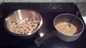 Granola and syrup mixture