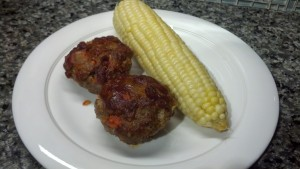 Meatloaf Cupcakes with Corn on the Cob