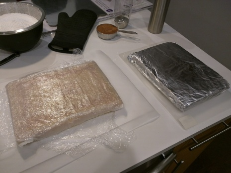Step 2: Wrap the cake in plastic wrap, then foil. Put in freezer for a couple hours. I did mine for 3 hours.